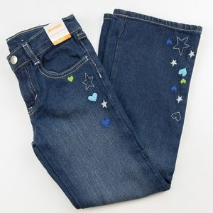 NWT Gymboree Girls Stars Hearts Bootcut Jeans 7